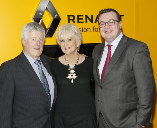 no fee if Renault mentioned in caption Joe Mallon, Rosemary Smith and Paddy Magee at Joe Mallon Renault 30th Anniversary Style Games in Naas-photo Kieran Harnett Styles Games in Naas It was Style Games or even Style Wars as Lorraine Keane and Bairbre Power went head to head in a fashion-off in Naas at the weekend for the 30th anniversary of Renault dealership Joe Mallon Motors. MC for the evening was the dapper Darren Kennedy dressed in one of his Louis Copeland creations and motor racing doyenne Rosemary Smith was in the front row with her pal Eileen Murphy. Local boutiques including Kalu, Aria and Elaine Madigan Cashmere were modelled by Kildare GAA ladies and men's players who wowed the over- 500 audience with their catwalk skills.  The delicious fare on the night was prepared by Judith Matthews who looks after catering for the Kildare glitterati and best dressed lady and man Grainne Madden and Bobby Mulligan both walked away with a VIP night at the Late Late Show courtesy of Renault.
